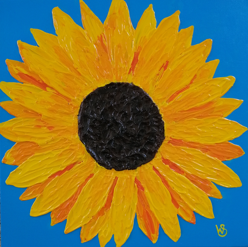 (CreativeWork) Sunny Sunflower by Wendy Steinberg. acrylic-painting. Shop online at Bluethumb.