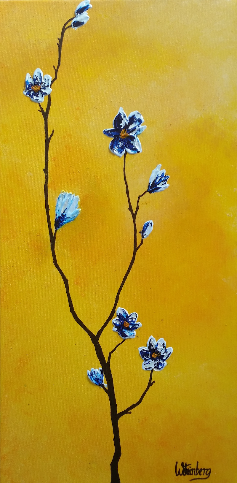 (CreativeWork) Ikebana- Blue Magnolias on Yellow by Wendy Steinberg. acrylic-painting. Shop online at Bluethumb.