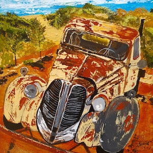 (CreativeWork) Rusty Old Car x 1 by Deborah Christensen. mixed-media. Shop online at Bluethumb.