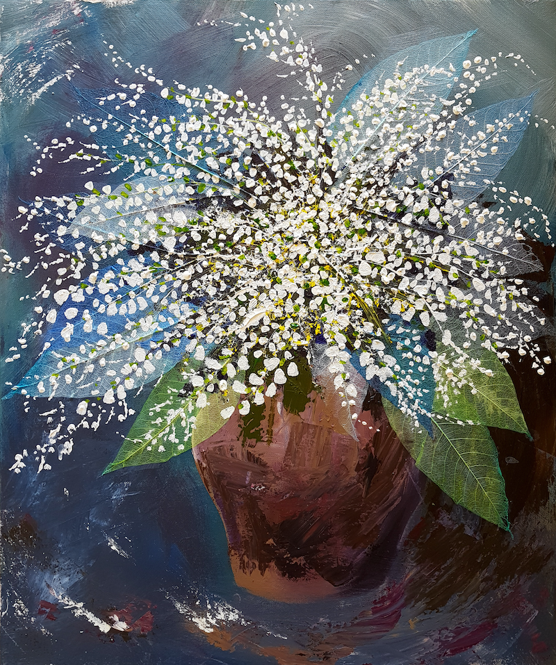 (CreativeWork) Lilly of the Valley  by Deborah Christensen. mixed-media. Shop online at Bluethumb.