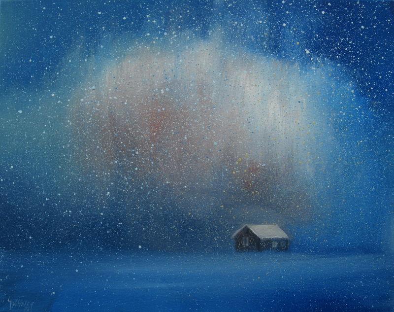 (CreativeWork) The snow storm and the little cottage by Trevor Salisbury. oil-painting. Shop online at Bluethumb.