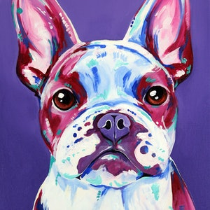 (CreativeWork) Frenchie in Purple - A French Bulldog Portrait by Eve Izzett. arcylic-painting. Shop online at Bluethumb.