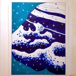 (CreativeWork) Dreaming of Falling into Yodo River by Lisa Kelly. arcylic-painting. Shop online at Bluethumb.