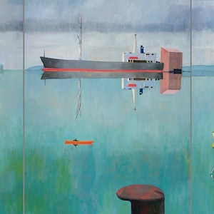 (CreativeWork) Port of Portland by Colin Palethorpe. oil-painting. Shop online at Bluethumb.