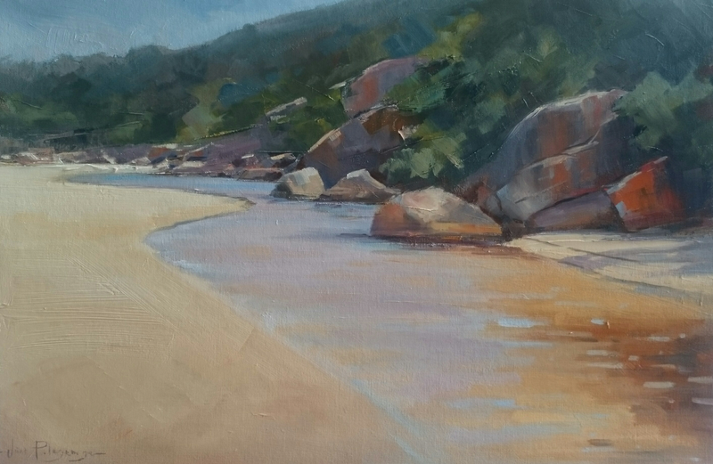 (CreativeWork) Tidal River vista, Wilsons Prom. by Vivi Palegeorge. oil-painting. Shop online at Bluethumb.