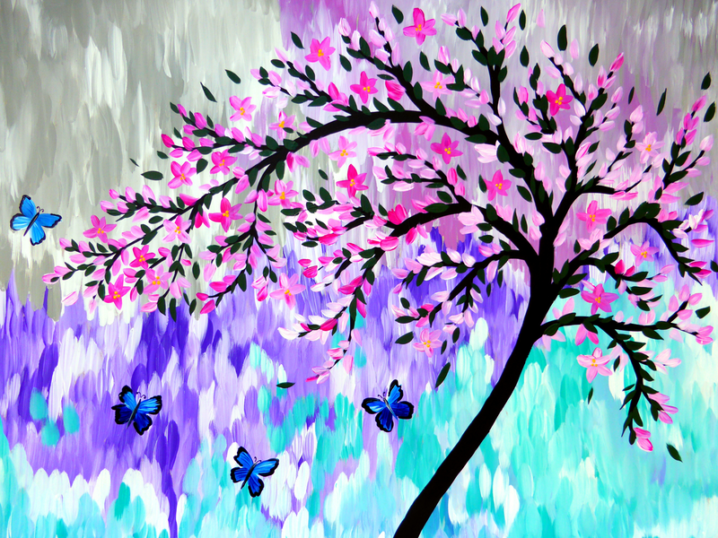 (CreativeWork) Blue Butterflies with Bright Abstracts by Cathy Snow. arcylic-painting. Shop online at Bluethumb.