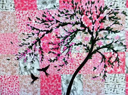 (CreativeWork) Sakura and Origami by Cathy Snow. arcylic-painting. Shop online at Bluethumb.