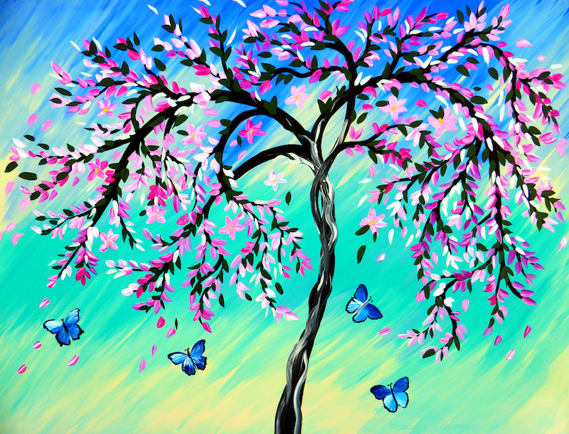 (CreativeWork) Cherry Blossoms and Butterflies by Cathy Snow. acrylic-painting. Shop online at Bluethumb.