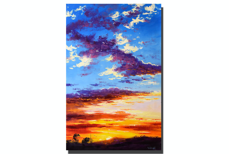 (CreativeWork) Bush Sunset by Graham Gercken. oil-painting. Shop online at Bluethumb.