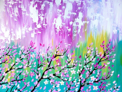 (CreativeWork) Weathered pink blossoms by Cathy Snow. arcylic-painting. Shop online at Bluethumb.