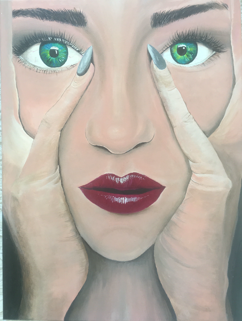 (CreativeWork) Thinking by Kristen Riddell. acrylic-painting. Shop online at Bluethumb.