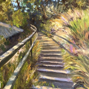 (CreativeWork) Steps to the water by Shelly Du. oil-painting. Shop online at Bluethumb.