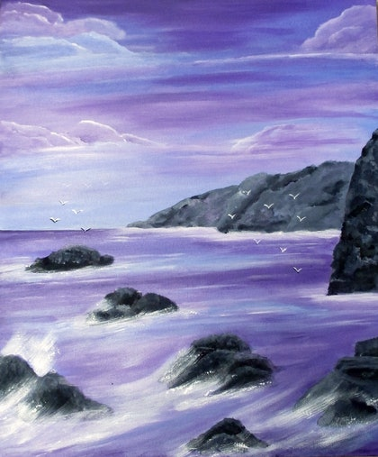 (CreativeWork) Purple Dawn by Susie Mac. arcylic-painting. Shop online at Bluethumb.
