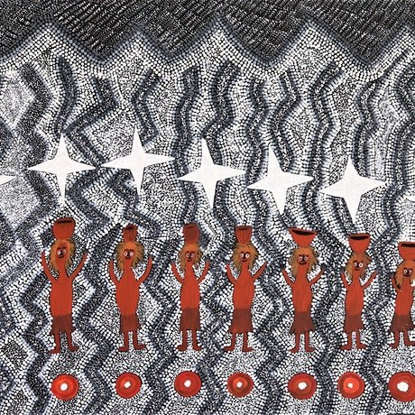 (CreativeWork) Seven Sisters, 18-208 by Selina Kulitja. Acrylic Paint. Shop online at Bluethumb.