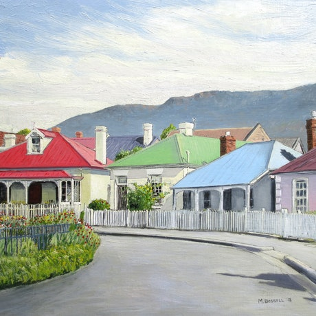 (CreativeWork) Arthur Circus, Battery Point (Facing Mountain) by Michael Bessell. Oil Paint. Shop online at Bluethumb.