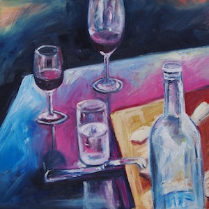 """(CreativeWork) """"Lunch Date"""" by Sarah McDonald. oil-painting. Shop online at Bluethumb."""