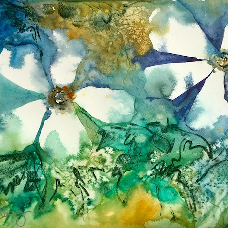 (CreativeWork) Wildflowers - Modern Floral by Cynthia Copley. Watercolour Paint. Shop online at Bluethumb.