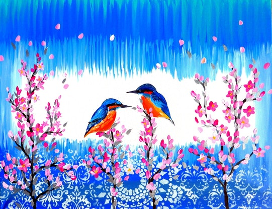 (CreativeWork) Kingfishers by Cathy Jacobs. Acrylic Paint. Shop online at Bluethumb.