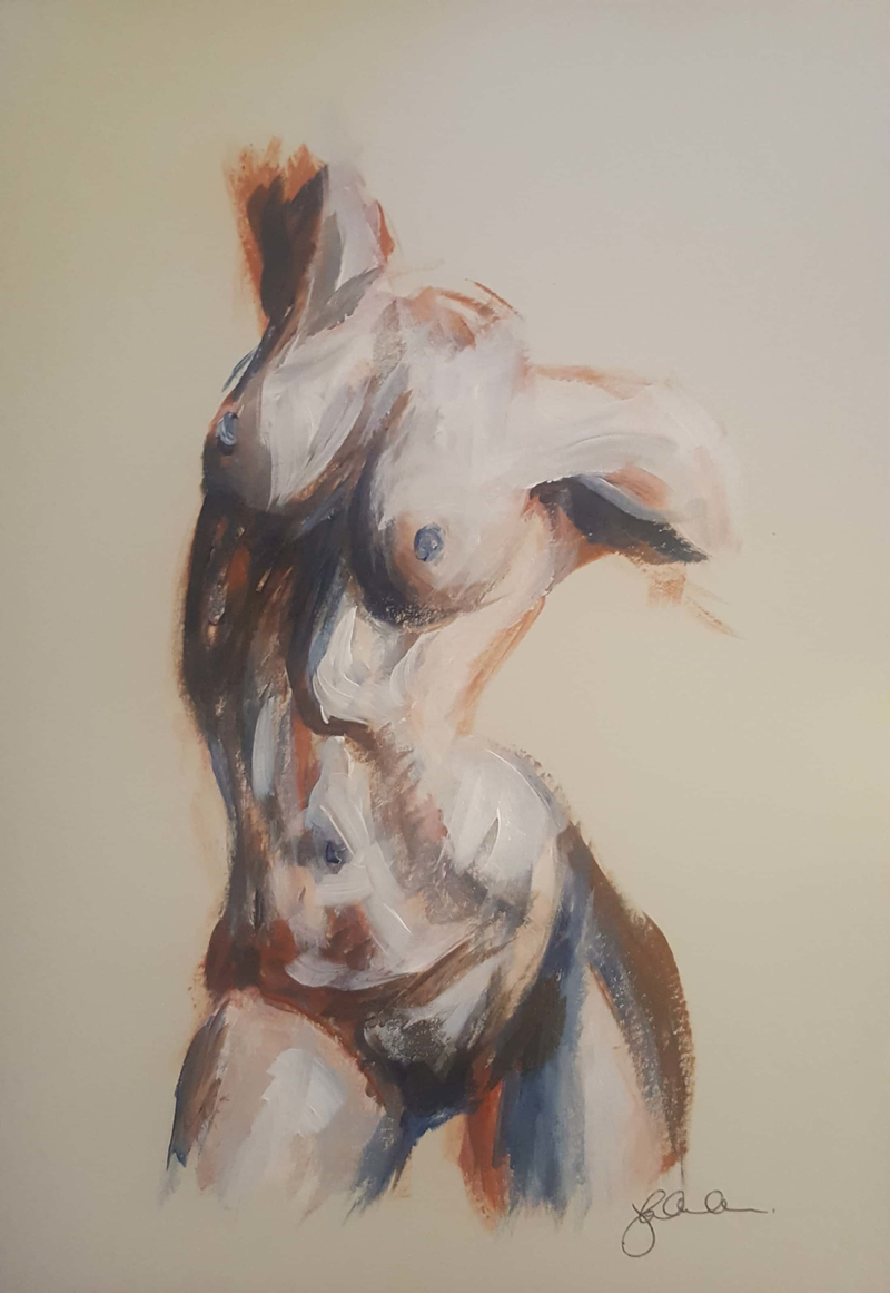 (CreativeWork) Nude study morning stretch by Katrina Okoronkwo. acrylic-painting. Shop online at Bluethumb.