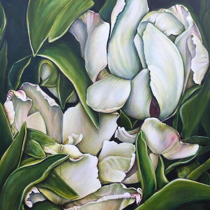 (CreativeWork) Tulips by Marianne Ulbrick. arcylic-painting. Shop online at Bluethumb.