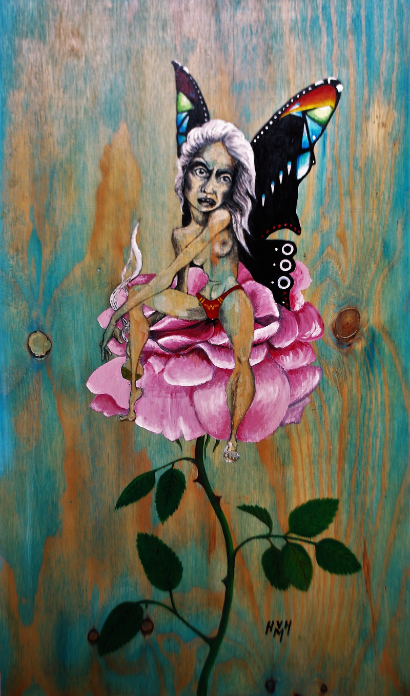 (CreativeWork) common green garden fairy by Holly Maclean. acrylic-painting. Shop online at Bluethumb.