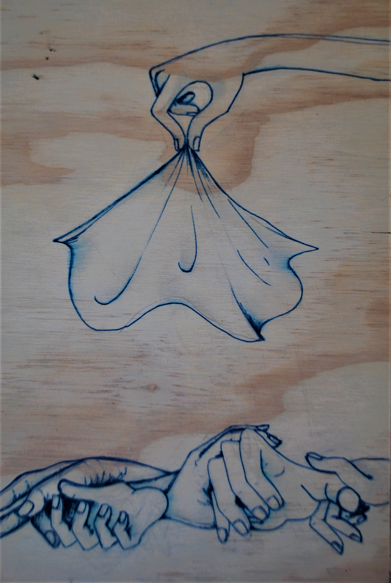 (CreativeWork) hands on wood by Holly Maclean. drawing. Shop online at Bluethumb.