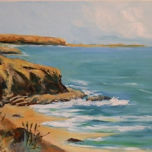 (CreativeWork) South coast near San Remo Vic by Phillip Mylecharane. oil-painting. Shop online at Bluethumb.