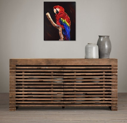 (CreativeWork) Red Macaw by julie hollis. Acrylic Paint. Shop online at Bluethumb.