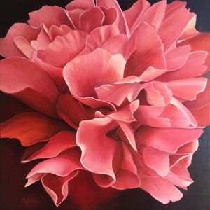 (CreativeWork) Peony Up Close by Catherine Wallace. oil-painting. Shop online at Bluethumb.