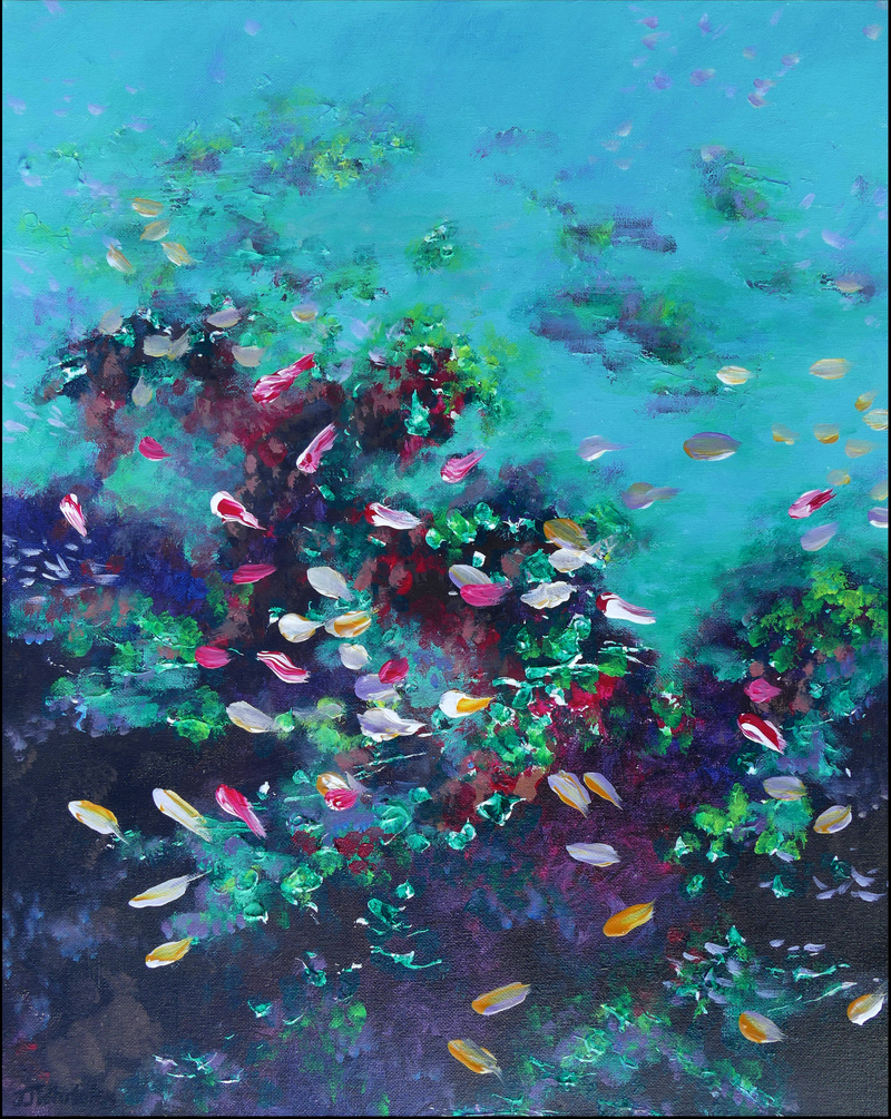 (CreativeWork) Swirling Fish by Jennifer Whiteley. acrylic-painting. Shop online at Bluethumb.