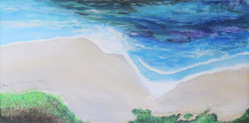 (CreativeWork) Quiet Beach by Fiona Farrugia. acrylic-painting. Shop online at Bluethumb.