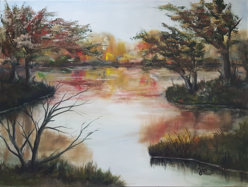 (CreativeWork) The Autumnscape by Jan Sikora. oil-painting. Shop online at Bluethumb.