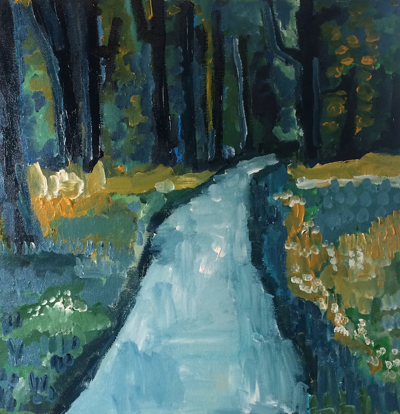 (CreativeWork) Into the Woods by Sharon Monagle. arcylic-painting. Shop online at Bluethumb.