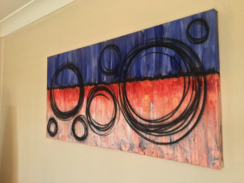 (CreativeWork) Black Line 5 by Kitty Berton. acrylic-painting. Shop online at Bluethumb.