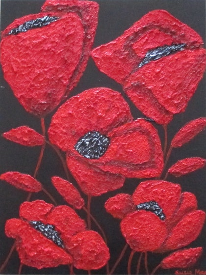 (CreativeWork) Red Poppies by Susie Mac. mixed-media. Shop online at Bluethumb.