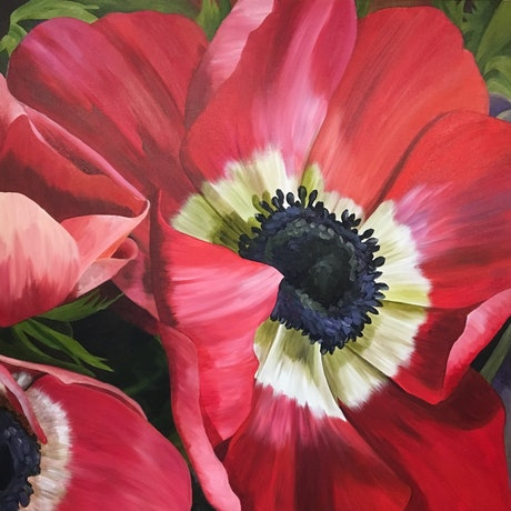 (CreativeWork) A  Red Splash of  Anemones by Linda McGowan. Acrylic Paint. Shop online at Bluethumb.