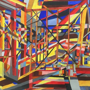 (CreativeWork) Building Spree by Tim Nash. watercolour. Shop online at Bluethumb.