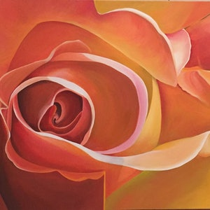 (CreativeWork) Apricot Delight by Jenny McGrath. arcylic-painting. Shop online at Bluethumb.