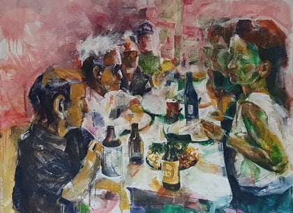 (CreativeWork) The Feast by Leo Alexander Scott. oil-painting. Shop online at Bluethumb.