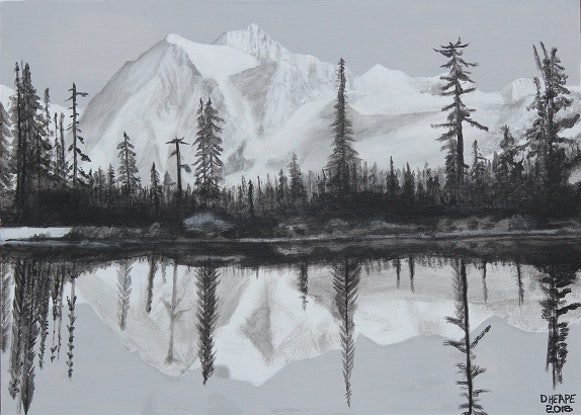 """(CreativeWork) """"MOUNTAIN REFLECTIONS"""" by Dennis Heape. Acrylic Paint. Shop online at Bluethumb."""