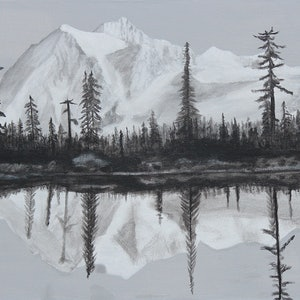 """(CreativeWork) """"MOUNTAIN REFLECTIONS"""" by Dennis Heape. arcylic-painting. Shop online at Bluethumb."""