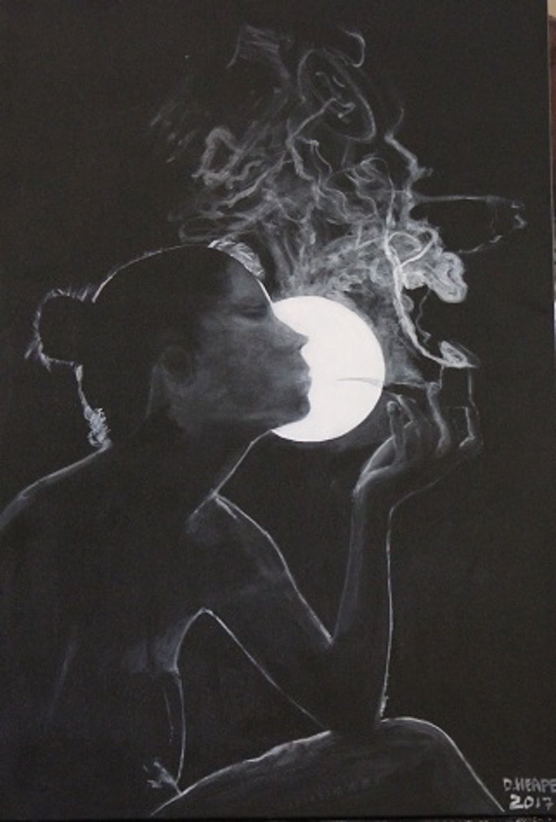 """(CreativeWork) """"LADY SMOKING A PIPE"""" by Dennis Heape. acrylic-painting. Shop online at Bluethumb."""