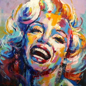 (CreativeWork) Smiling Marilyn Monroe by Jos Coufreur. arcylic-painting. Shop online at Bluethumb.