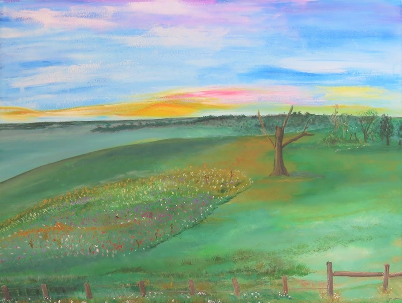 (CreativeWork) Countryside in spring by Fiona Farrugia. acrylic-painting. Shop online at Bluethumb.