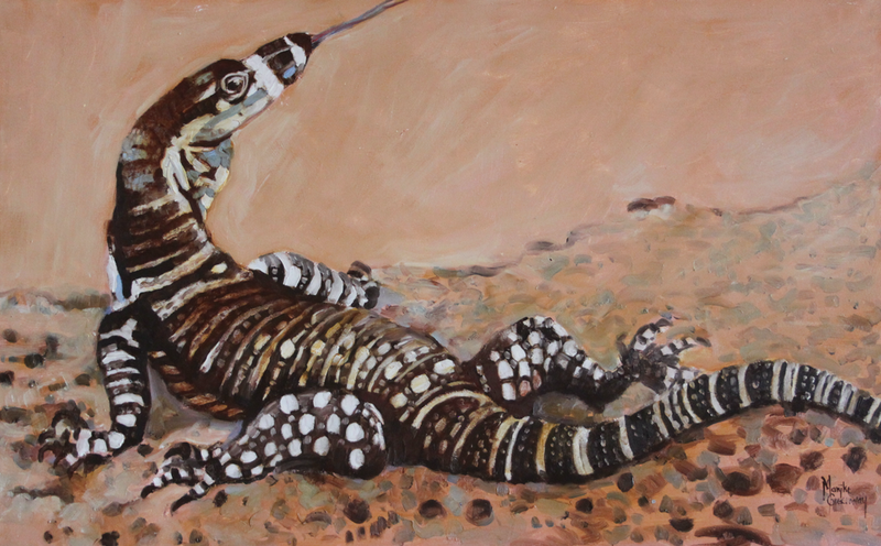 (CreativeWork) GOANNA AT MY DOOR by Marijke Greenway. oil-painting. Shop online at Bluethumb.