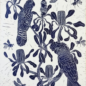 (CreativeWork) Cockatoo's and Candlesticks Lino print Ed. 11 of 150 by Marinka Parnham. print. Shop online at Bluethumb.