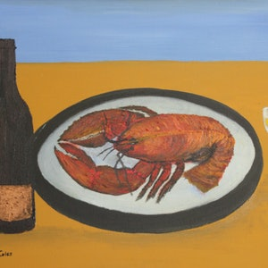 (CreativeWork) LOBSTER AND WHITE WINE by Ralph Coles. oil-painting. Shop online at Bluethumb.