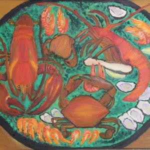 (CreativeWork) SEAFOOD PLATTER by Ralph Coles. oil-painting. Shop online at Bluethumb.