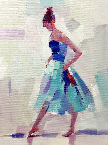 (CreativeWork) Blue Dancer by LI ZHOU. oil-painting. Shop online at Bluethumb.