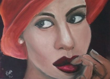 (CreativeWork) The Orange Hat by Marion Hughes. oil-painting. Shop online at Bluethumb.